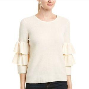 J. McLaughlin Cream Wool Tiered Sleeve Sweater
